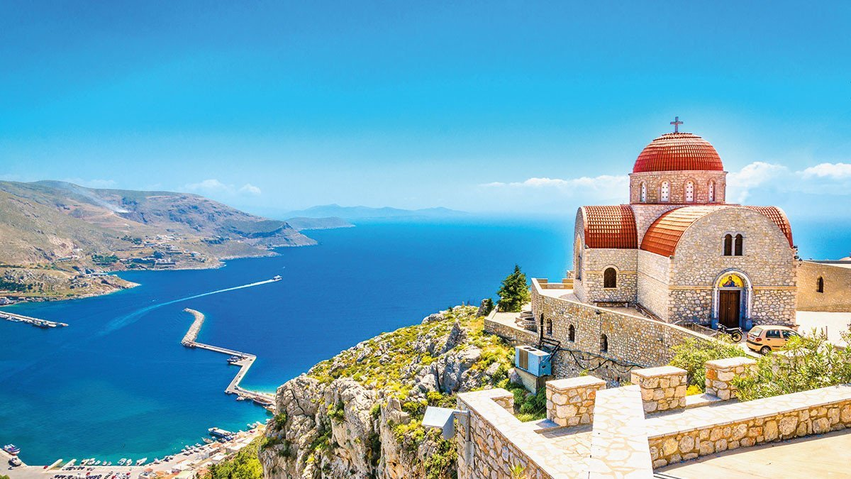 Kirche auf einem Berg in Kreta.