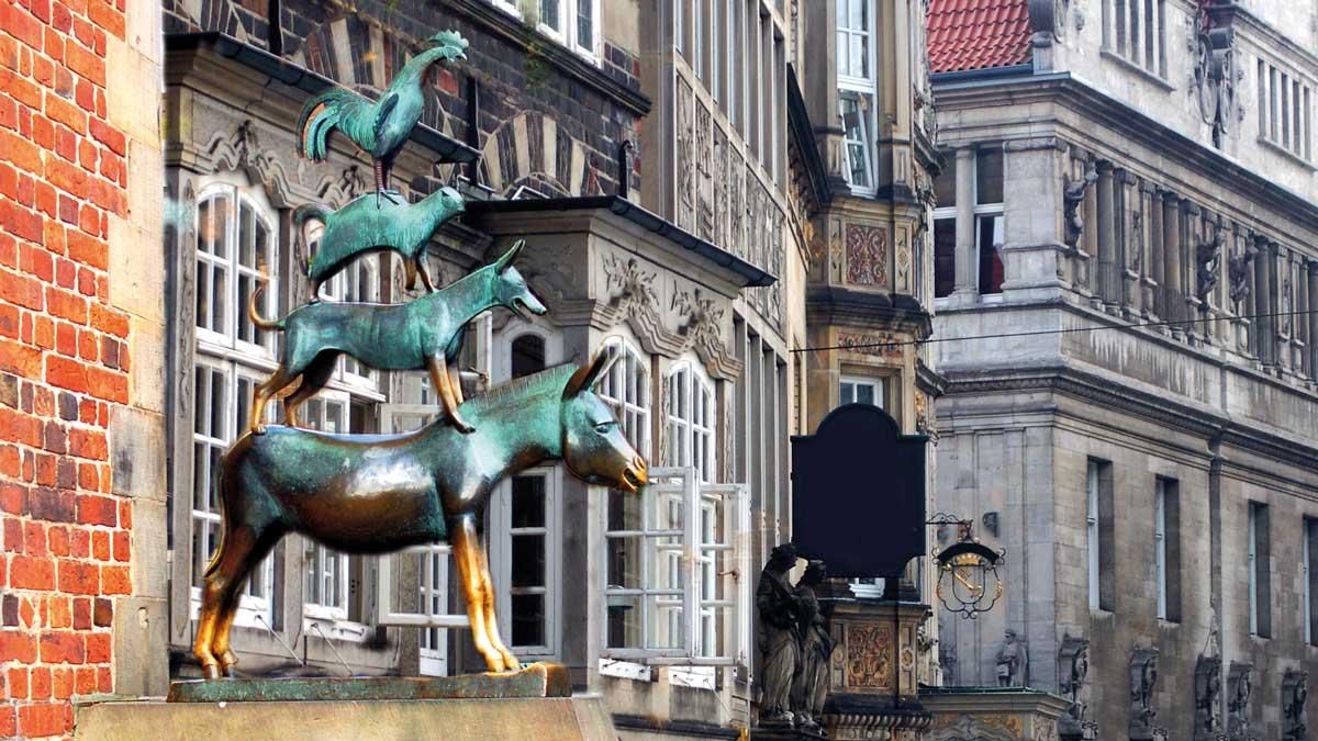 Die Bremer Stadtmusikanten auf dem Bremer Marktplatz