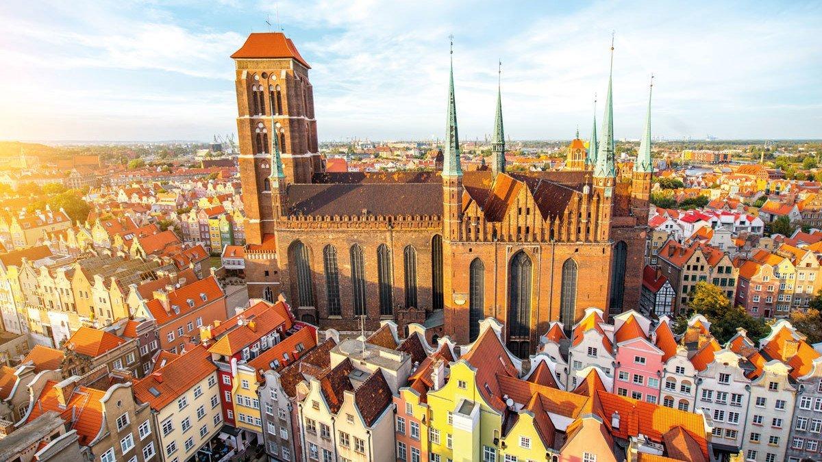 Danzig Stadtaussicht mit der Marienkirche im Zentrum