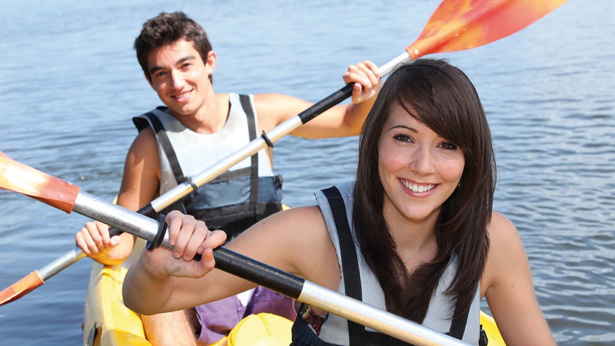 Kanucamp Weser Schüler im Kanu