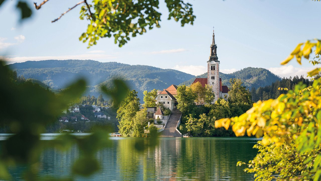 Bled mit See und Kirchturm