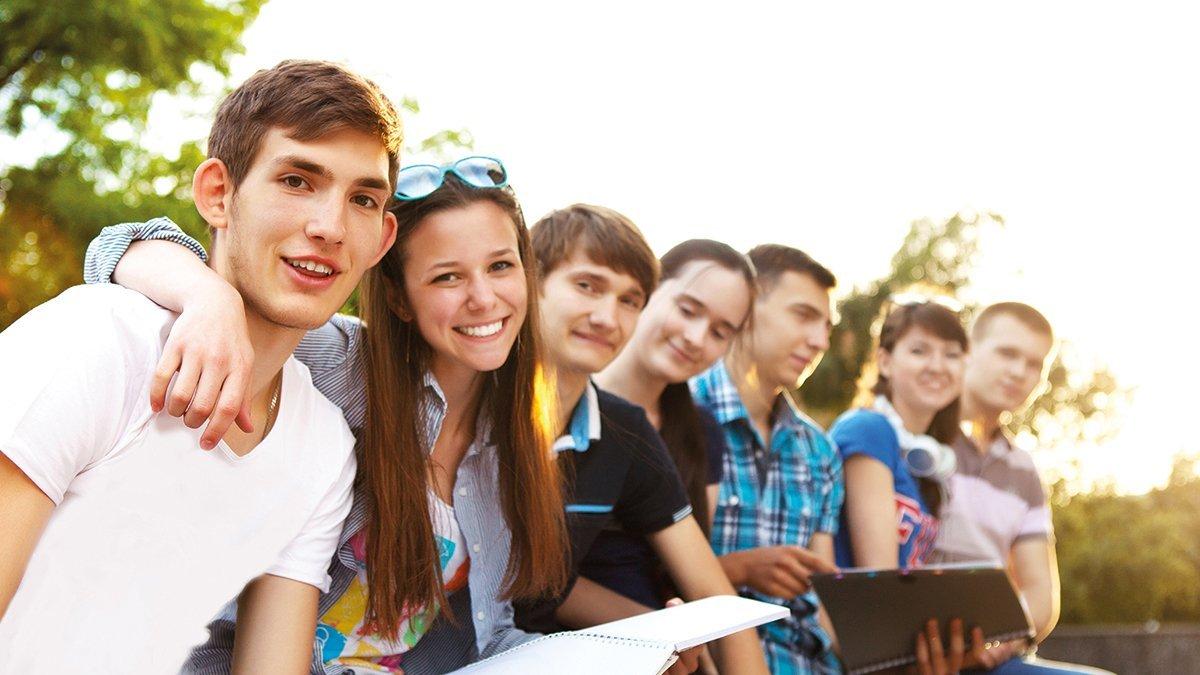 Studenten im Freien