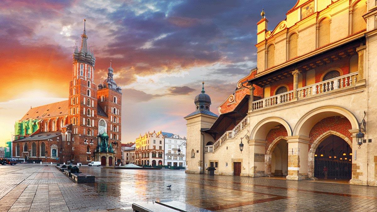 Marienkirche und Tuchhallen in Krakau