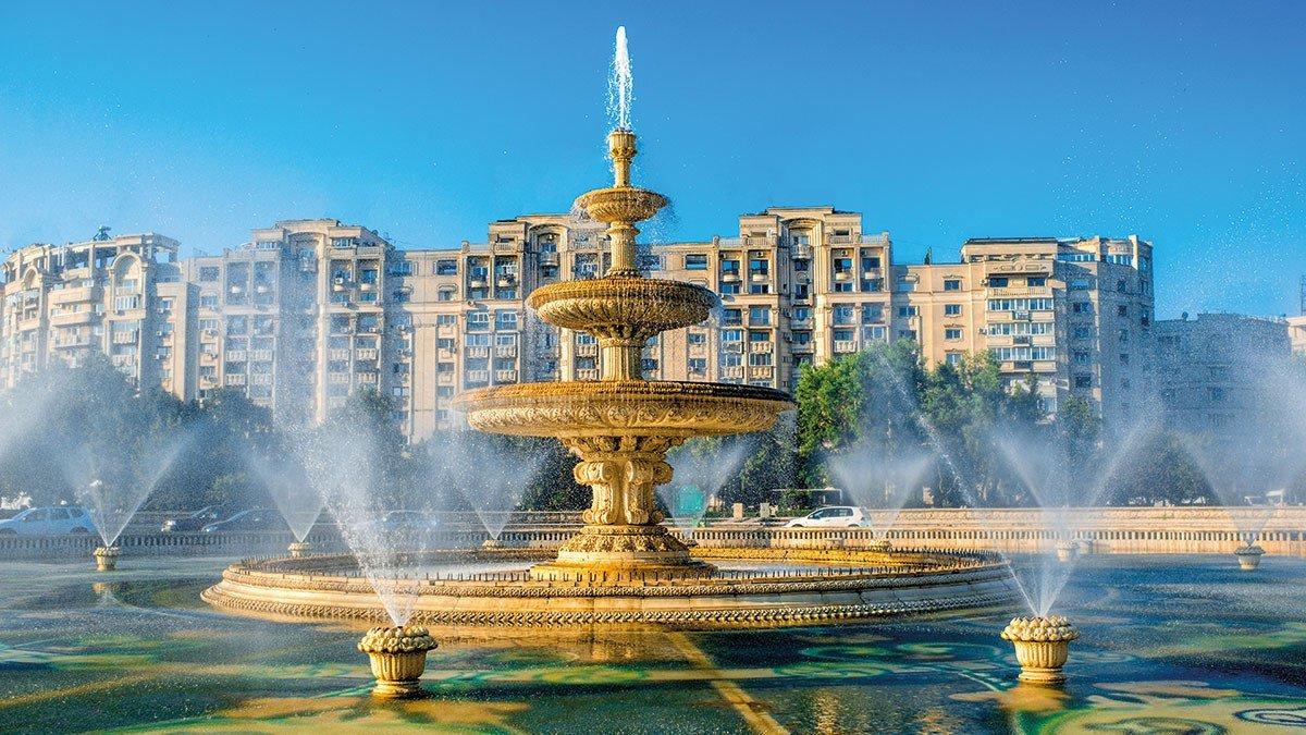 Großer Brunnen in der Innenstadt von Bukarest