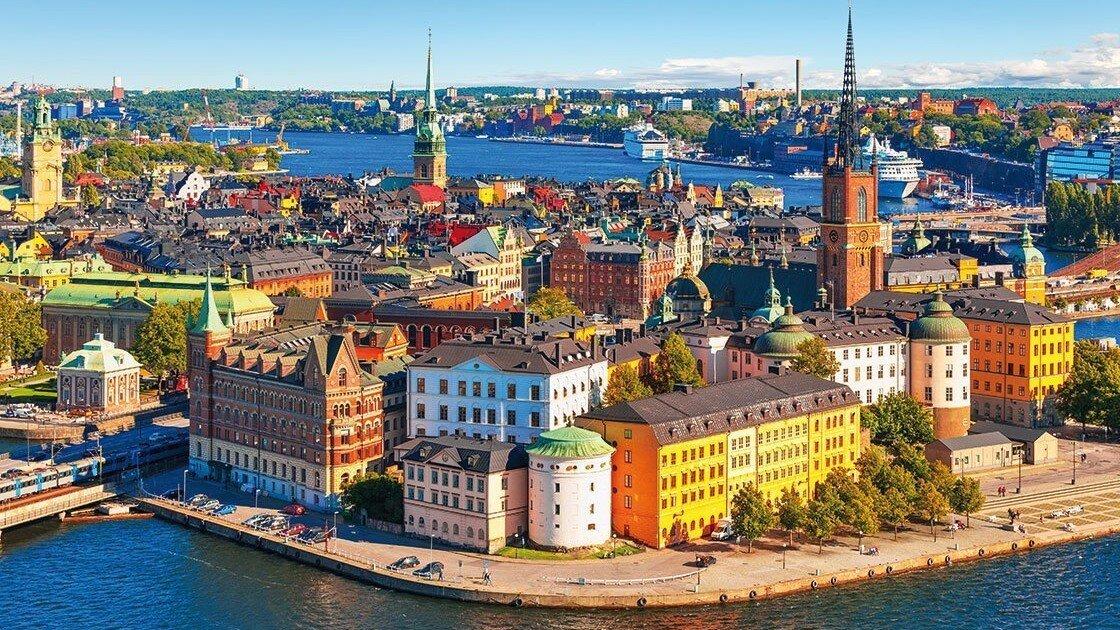 Stockholm bunte Häuser in der Altstadt
