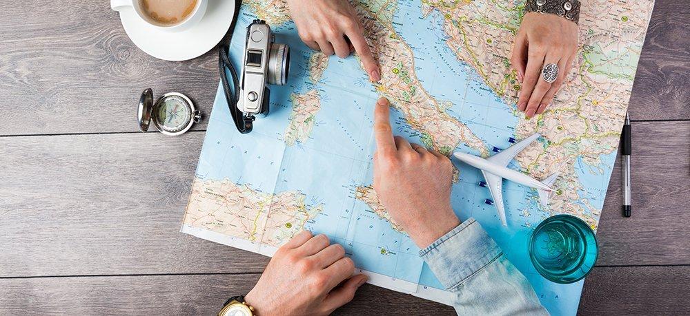Reiseziele auf der Weltkarte suchen
