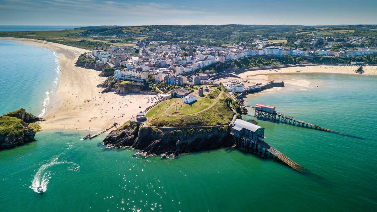 Wales Pembrokeshire Tenby Panorama