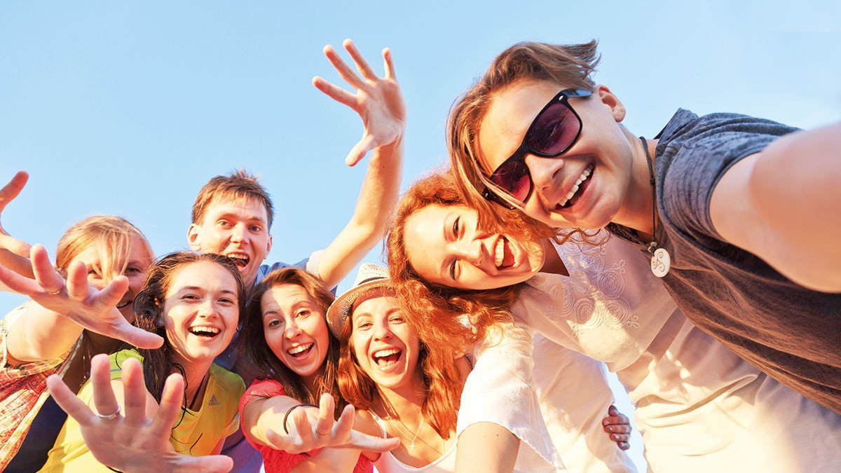 Schüler auf einem Selfie