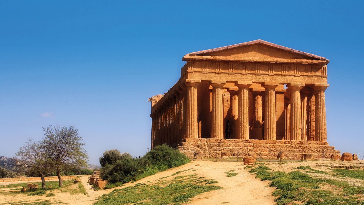 Blick auf den Tempel Syrakus in Sizilien