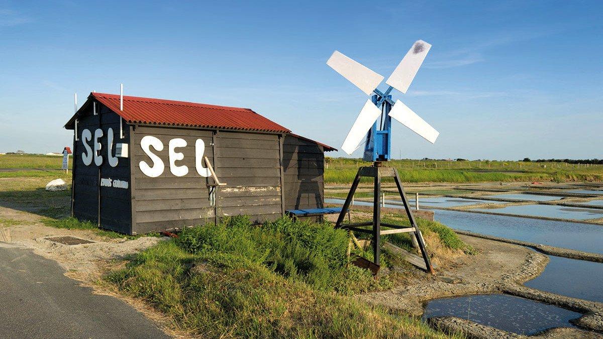 Windmühle an einem Salzschuppen in der Camargue