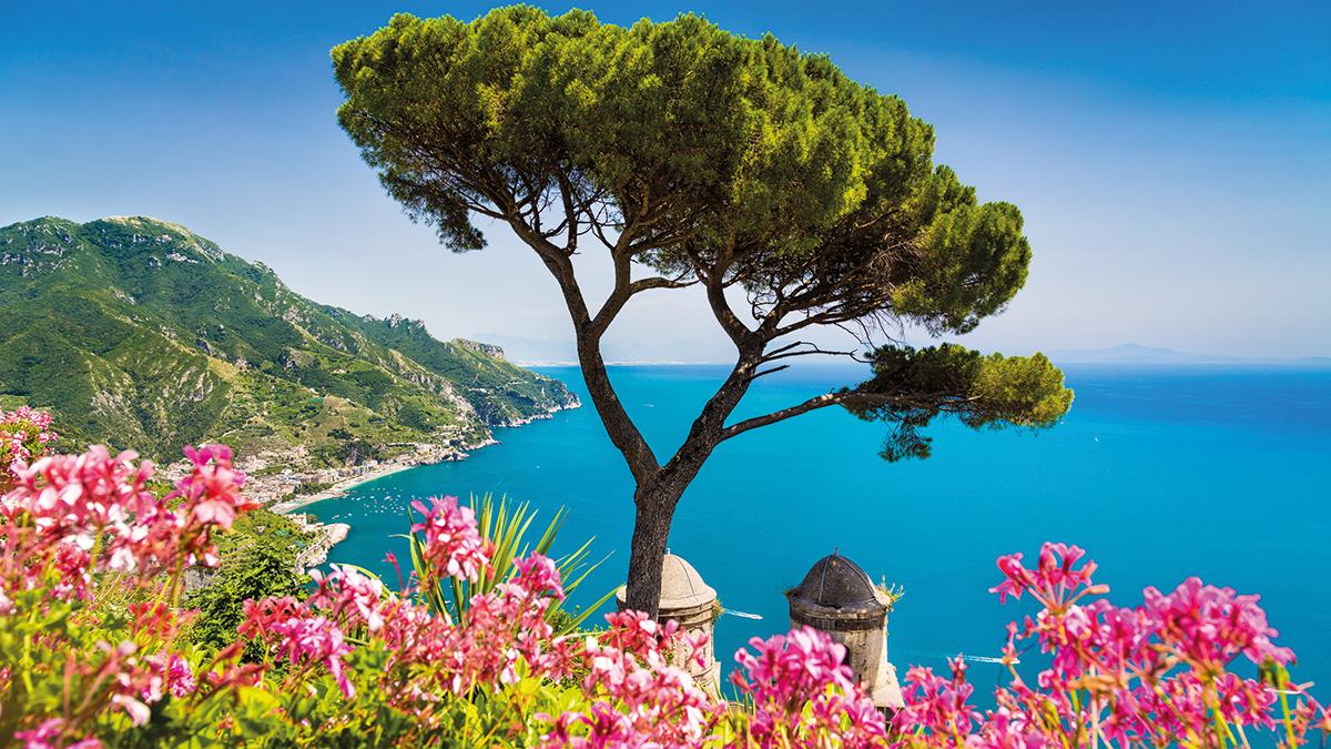 Salerno Amalfiküste mit roten Blumen
