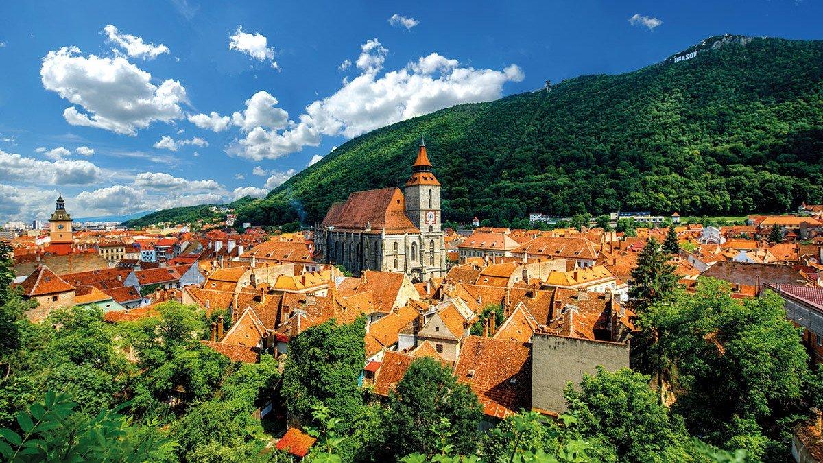 Rumänien Stadtuebersicht Brasov