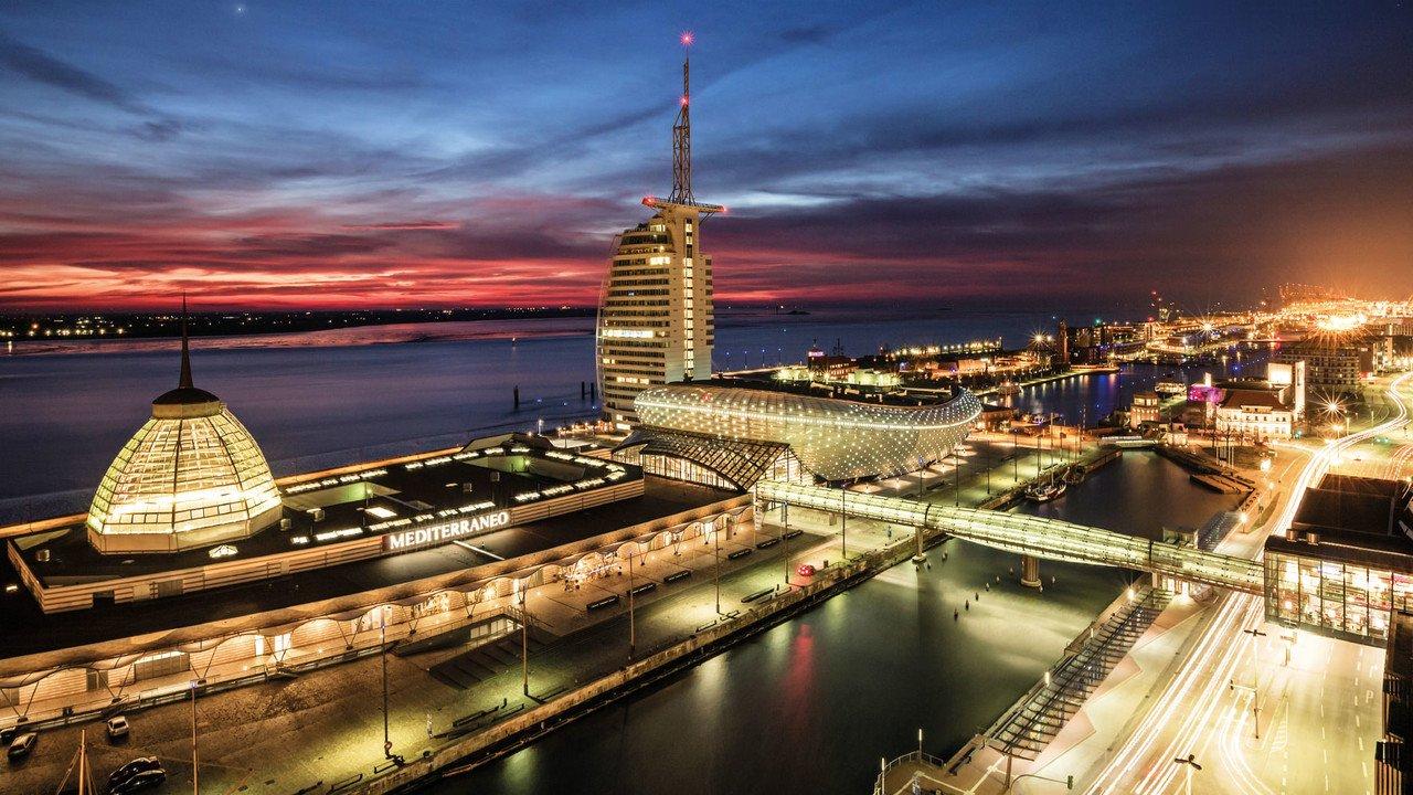 Stadtansicht Bremerhaven nachts