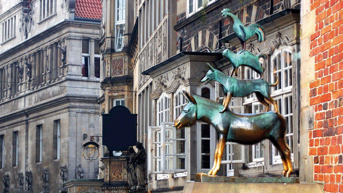 Bremer Marktplatz mit den Bremer Stadtmusikanten