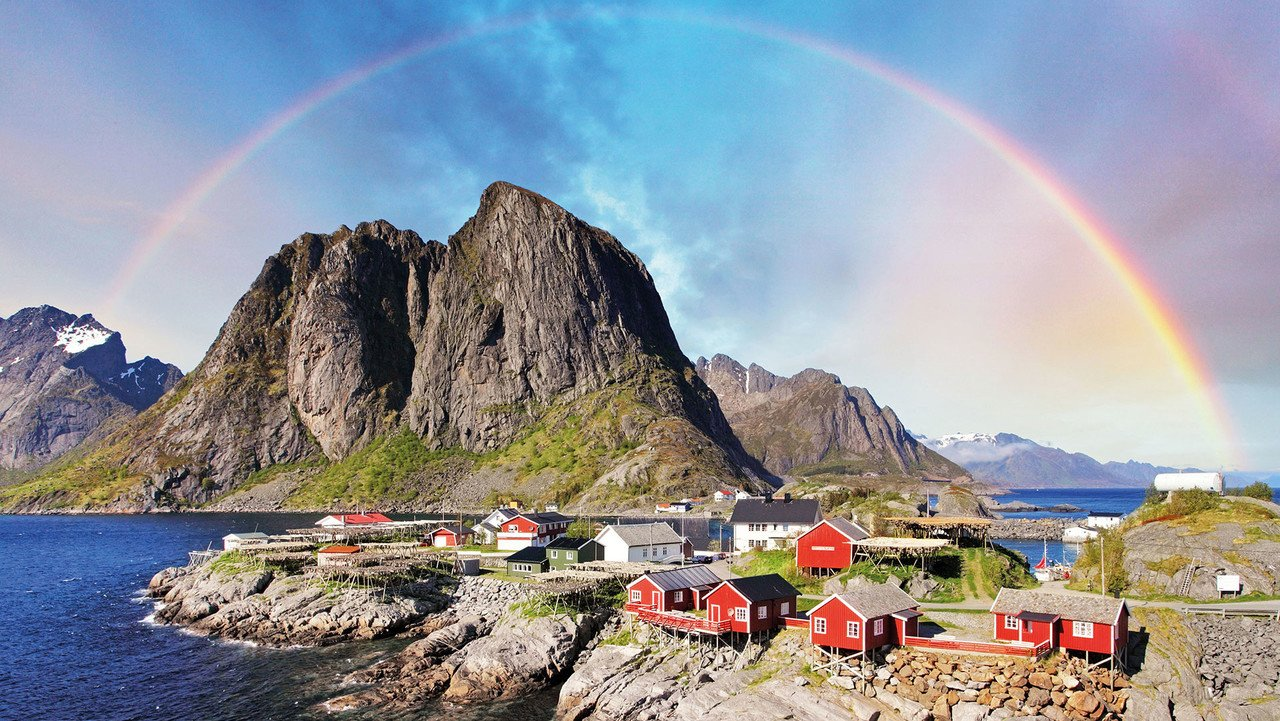 Lofoten Reine Regenbogen