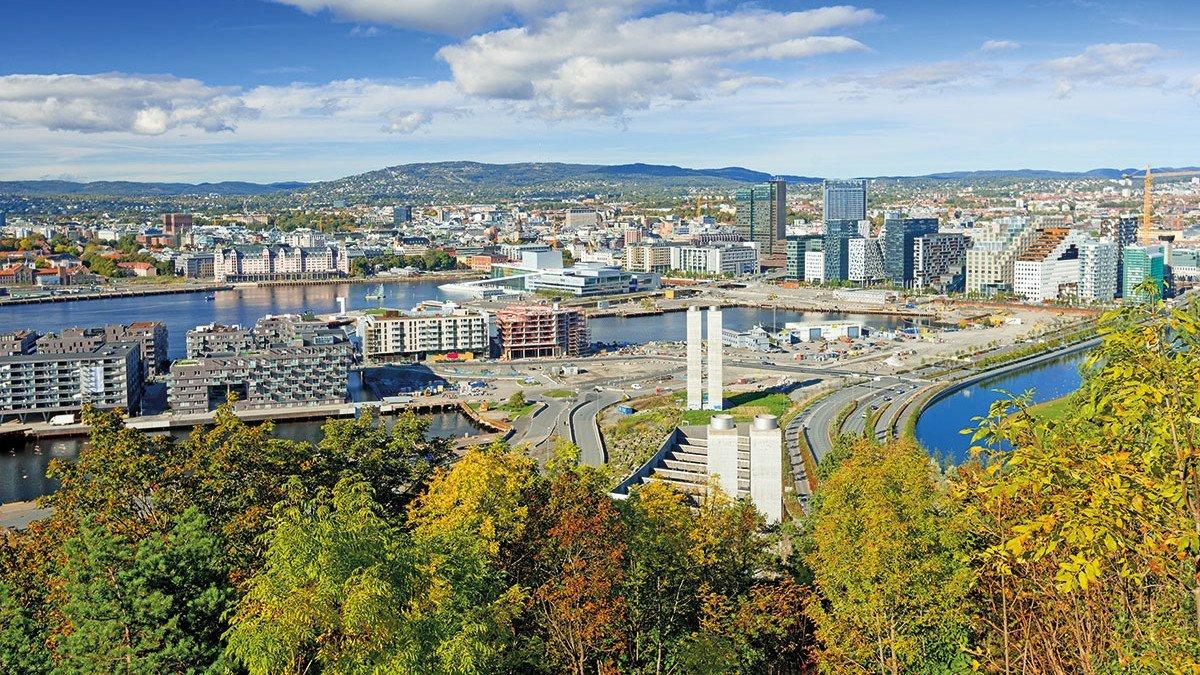 Stadtansicht aus der Vogelperspektive auf Oslo
