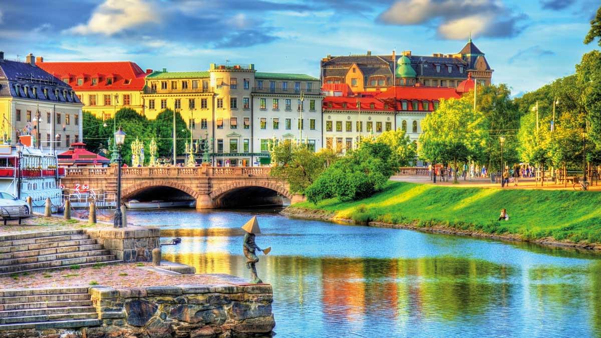 Blick vom Kanal auf Göteborg
