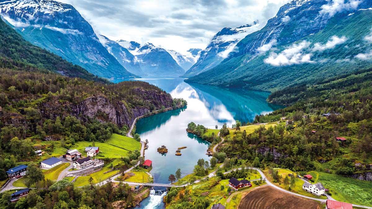 Panorama Blick auf den Geirangerfjord