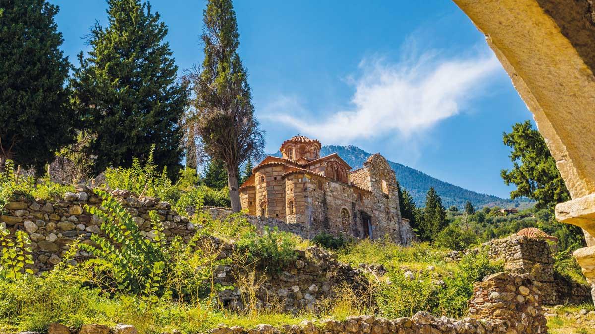 Blick auf Mystras in Peloponnes