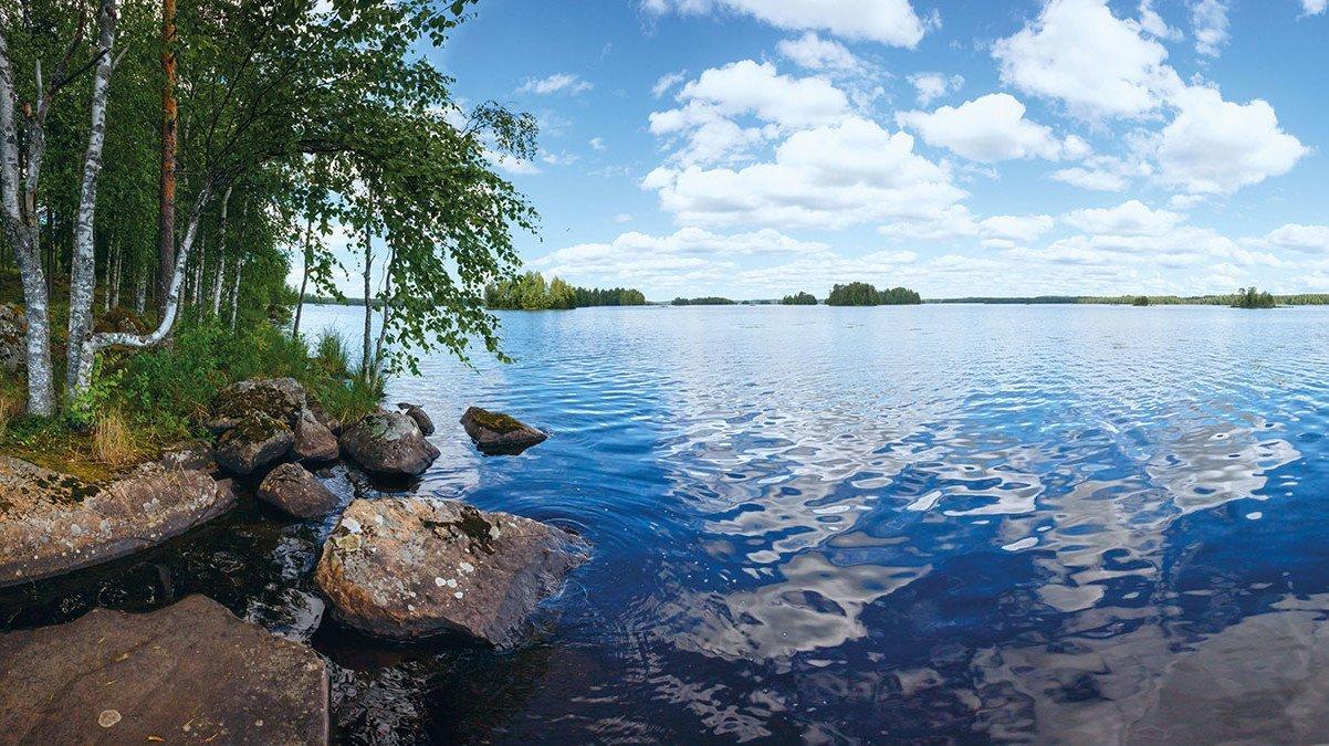 Hier sehen Sie eine traumhaft schöne Landschaft Rutajarvi See