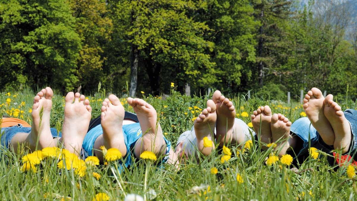 Schüler liegen auf einer Wiese im Schwarzwald und strecken ihre Füße in die Kamera