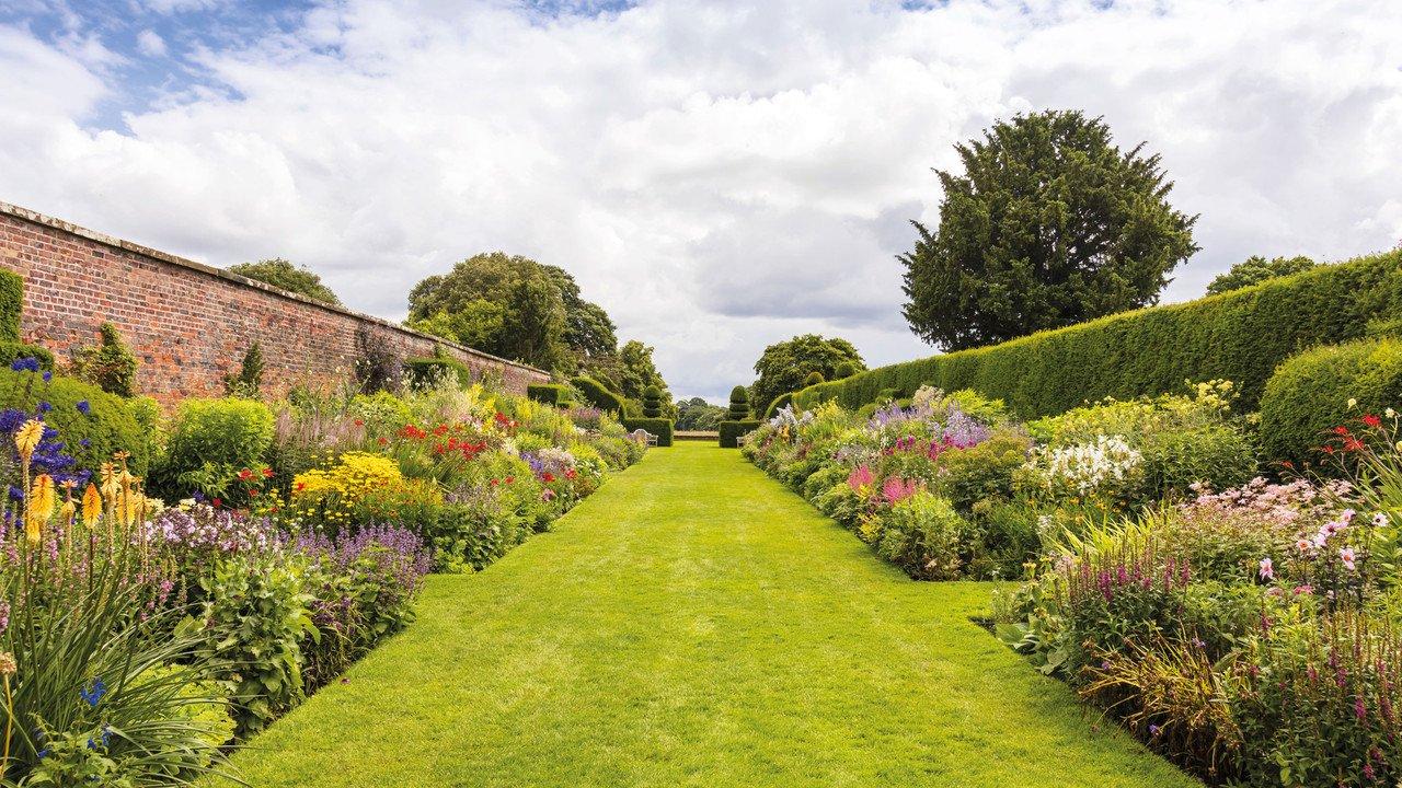 Ein englischer Garten in voller Blüte