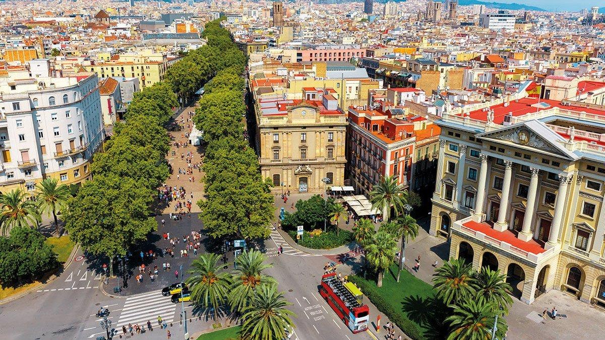 Promenade im Zentrum von Barcelona namens La Rambla