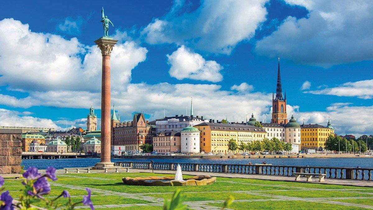 Rundblick auf Stockholm und Hafen